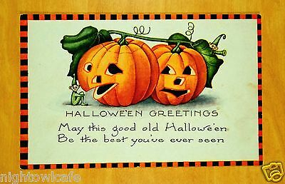 HALLOWEEN BEST YOU'VE EVER SEEN Black Orange Check Border Whitney Postcard 1924