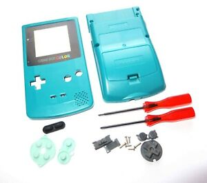 Replacement-Game-Boy-Color-GBC-Teal-Blue-Shell-Case-Housing-w-Screen-amp-Tools-UK