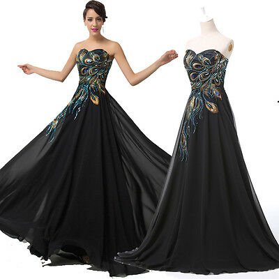 Long PEACOCK Masquerade gowns Evening Party Prom Formal WEDDING Dress PLUS SIZE