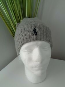 291deb13618 BNWT POLO RALPH LAUREN Grey Fold Over Wool Knit Beanie Hat ...