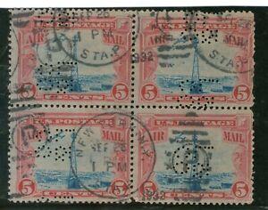 US Sc C11 MNH. 1928 5c carmine & blue Beacon Block of 4, RARE USED