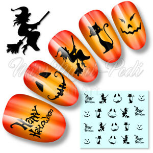 Halloween-Nails-Black-Nail-Water-Decals-Stickers-Witches-Cats-Pumpkin-Faces-K099