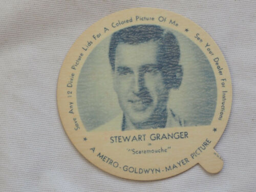 1952 DIXIE CUP NELSON'S ICE CREAM STEWART GRANGER TV MOVIE STAR NM