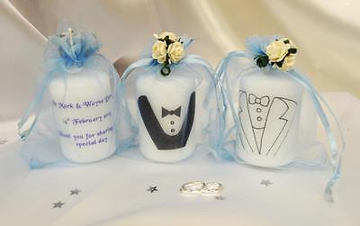 Mr & Mr Groom Same Sex Wedding Favour Candle Gay Personalised MANY COLOURS AVAIL