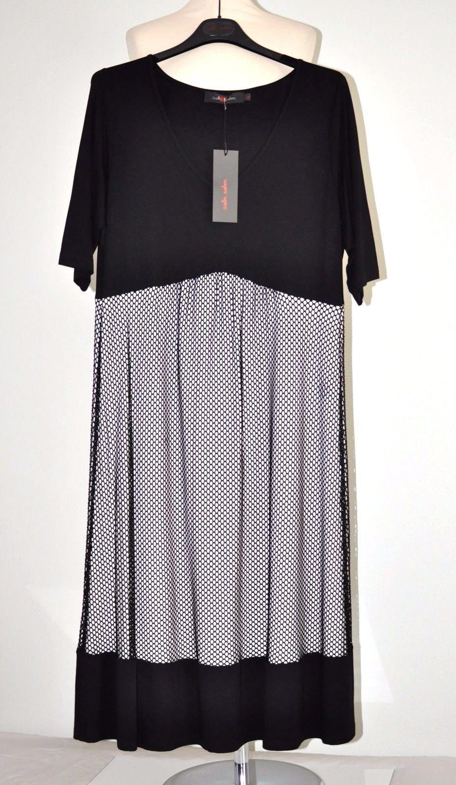 Sallie Sahne Gr 50  Viskose Jersey Kleid TIVO72 Netz Schwarz   Ecrue  NEU