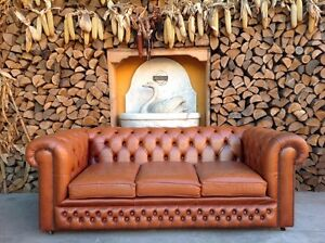 Divano Pelle Arancione : Divano chesterfield posti vintage originale inglese in pelle