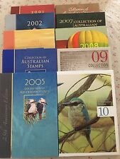 Collection of 2001 To 2010 Australian Post Year Book Album with Stamps - Deluxe