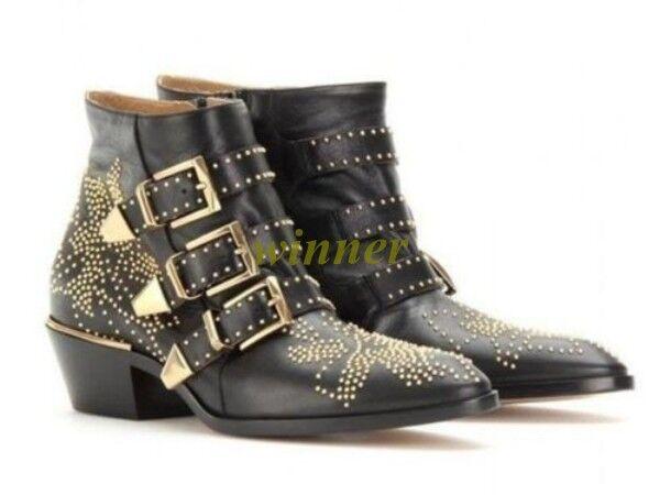 Hot Womens Punk Studded Buckle Low Heel Rocker Cowboy Ankle Boots Shoes Sz Rivet