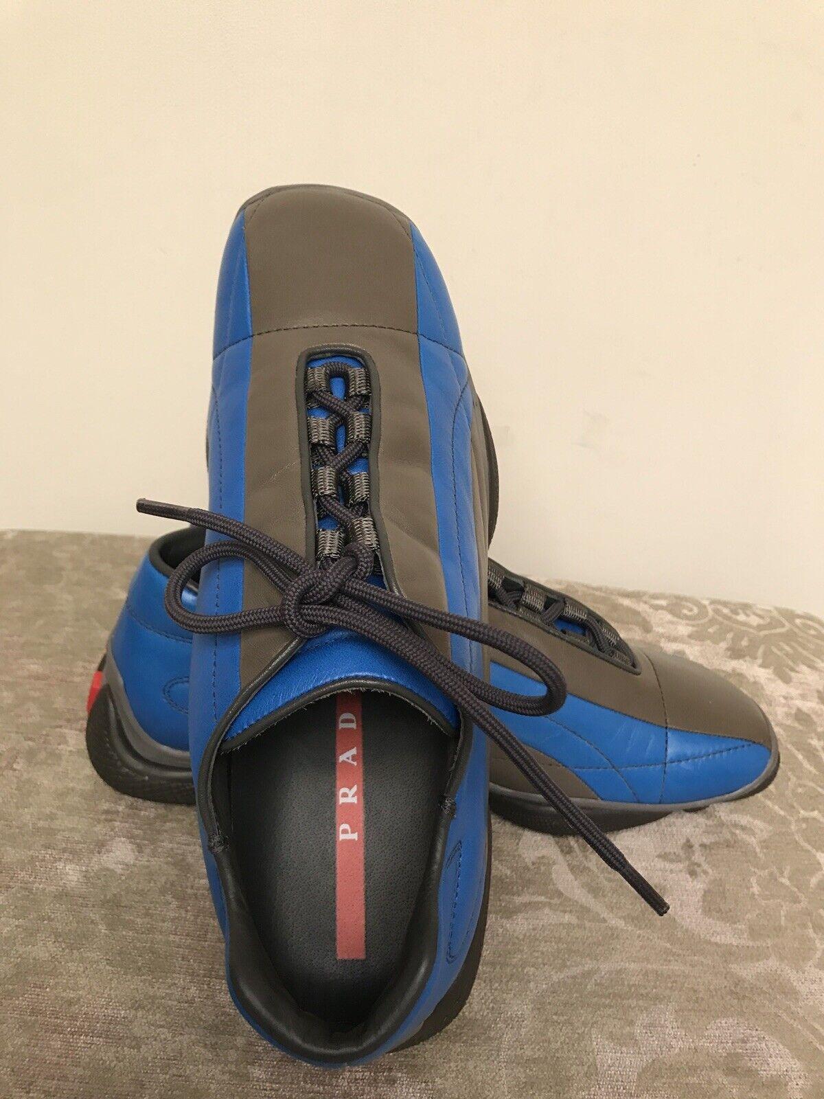 Prada Sport Bicolor Grey    Cobalt color Womens Leather shoes Size 8 US New  5d28f5