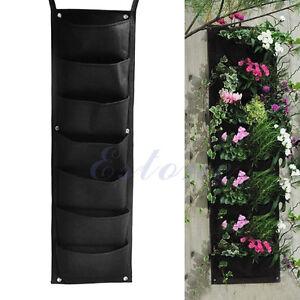 7 pocket outdoor indoor wall balcony herbs vertical garden hanging planter bag ebay. Black Bedroom Furniture Sets. Home Design Ideas