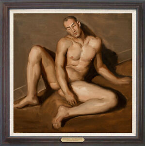 """Hand-painted Original Oil painting art Portrait male nude on Canvas 30""""X30"""""""