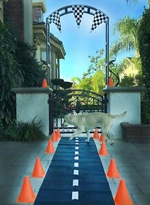Black-Floor-Racetrack-Runner-Nascar-Daytona-Hotwheels-Birthday-party-Theme-Decor
