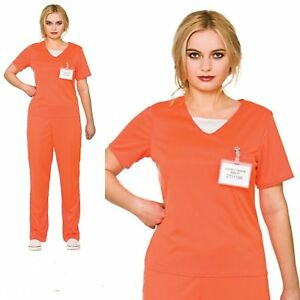 acb5f202 Image is loading Ladies-Orange-Convict-Costume-Boilersuit-Prisoner-Womens -Fancy-