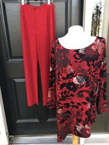 NWT-2-pc-Chico-039-s-Travelers-Enamel-Red-Black-Fire-Blooms-Top-No-Tummy-Pant-3-XL