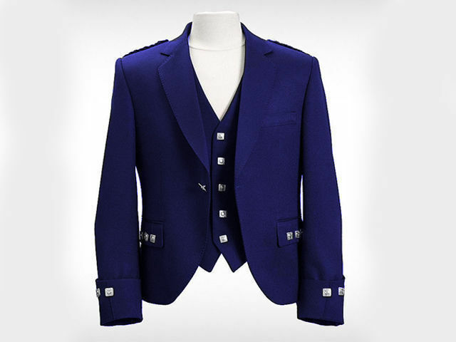 New Blue Argyle Kilt Jacket With Waistcoat/Vest - Sizes 36