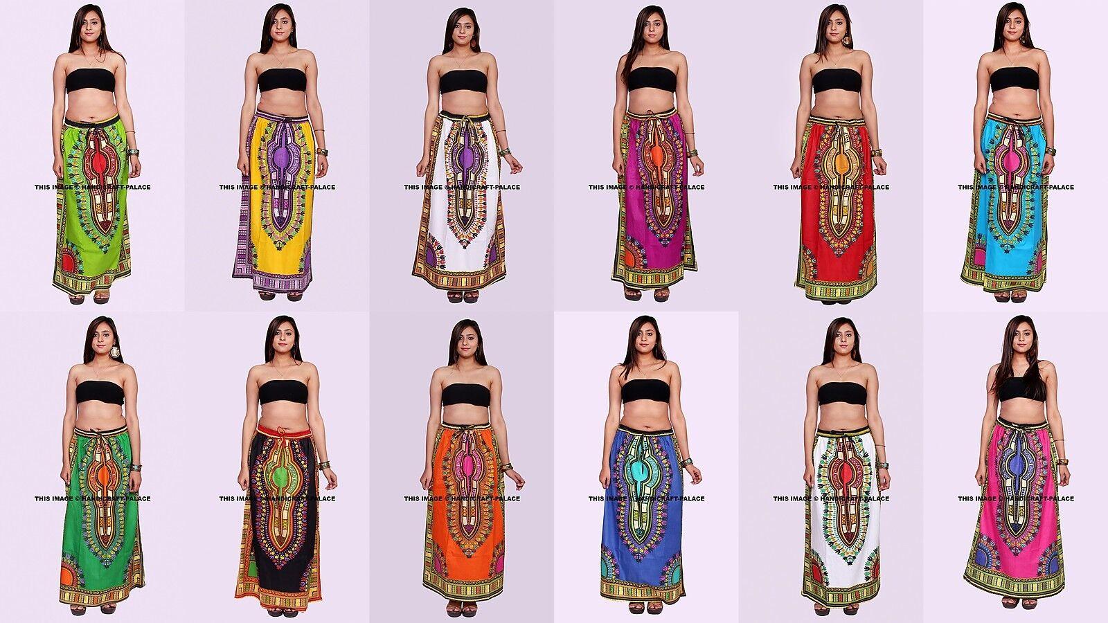 5 PC Grossist Lot Indian Long kjol Dress Kvinnor African Dashiki Hippie Indian