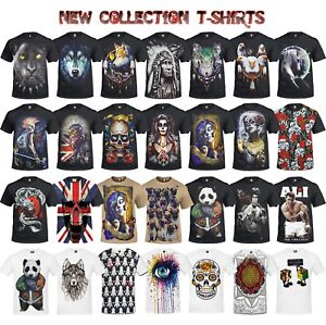 NEW-Rock-Metal-Teschio-Drago-FUNNY-Bruce-Lee-Biker-WOLF-PANTHER-T-Shirt-Tops-Tee