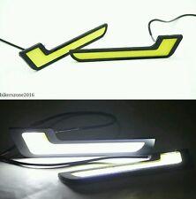White L Shape Car Led Daytime Running Lights Drl Cob Fog Lamps - Mahindra Logan