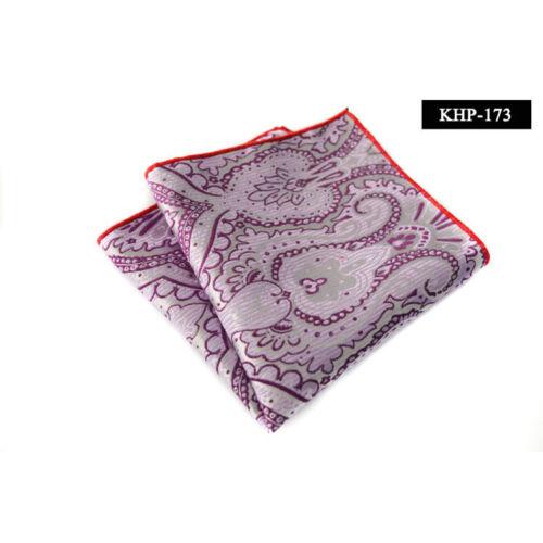 Men Fashion Paisley Floral Hanky Pocket Square Wedding Party Handkerchief NEW