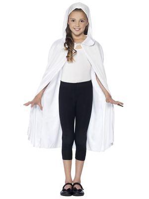 Girl/'s Kids White Ghoul Cape Halloween Fancy Dress Costume Parties School Disco