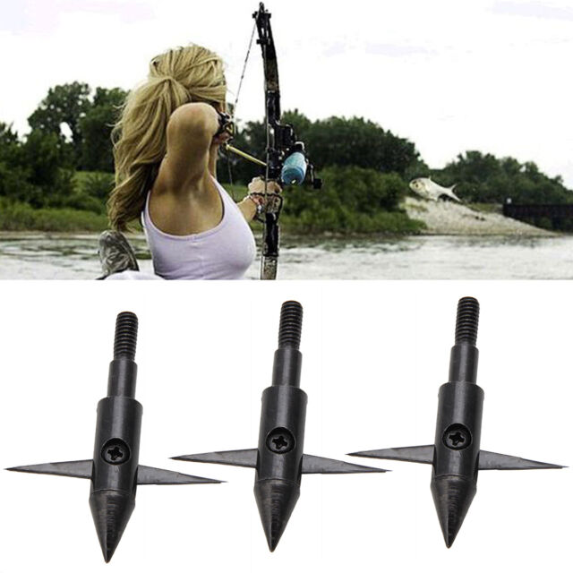 3 Black Archery Bowfishing Arrow Tips Fish Points 100Grain Arrow Heads Hunting