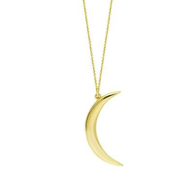 14k Yellow Gold Polished Mini Half Crescent Moon Charm Pendant Necklace