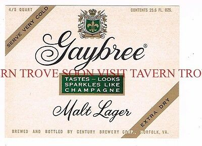 Unused 1950s Old Dutch Cream Ale Norfolk 12oz Label Tavern Trove Virginia