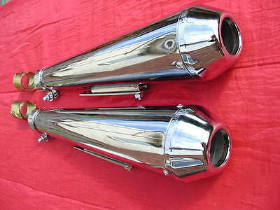 "2 UNIVERSAL chrome 17"" REVERSE CONE ""SHORTY"" MEGAPHONE SILENCERS baffled one set"
