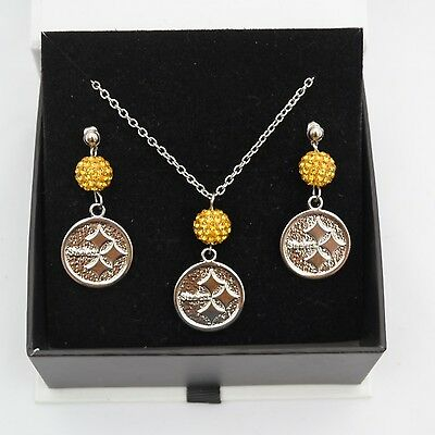 Pittsburgh Steelers Jewelry Shamballa Bead Crystal Necklace and Earrings Set