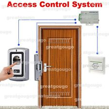 Door Fingerprint Access Control System Kit W/ Strike Lock Power Supply Switch