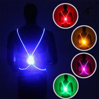 Running Cycling Reflective Strap Led Fiber Light Vest Jacket Night Sports Vests