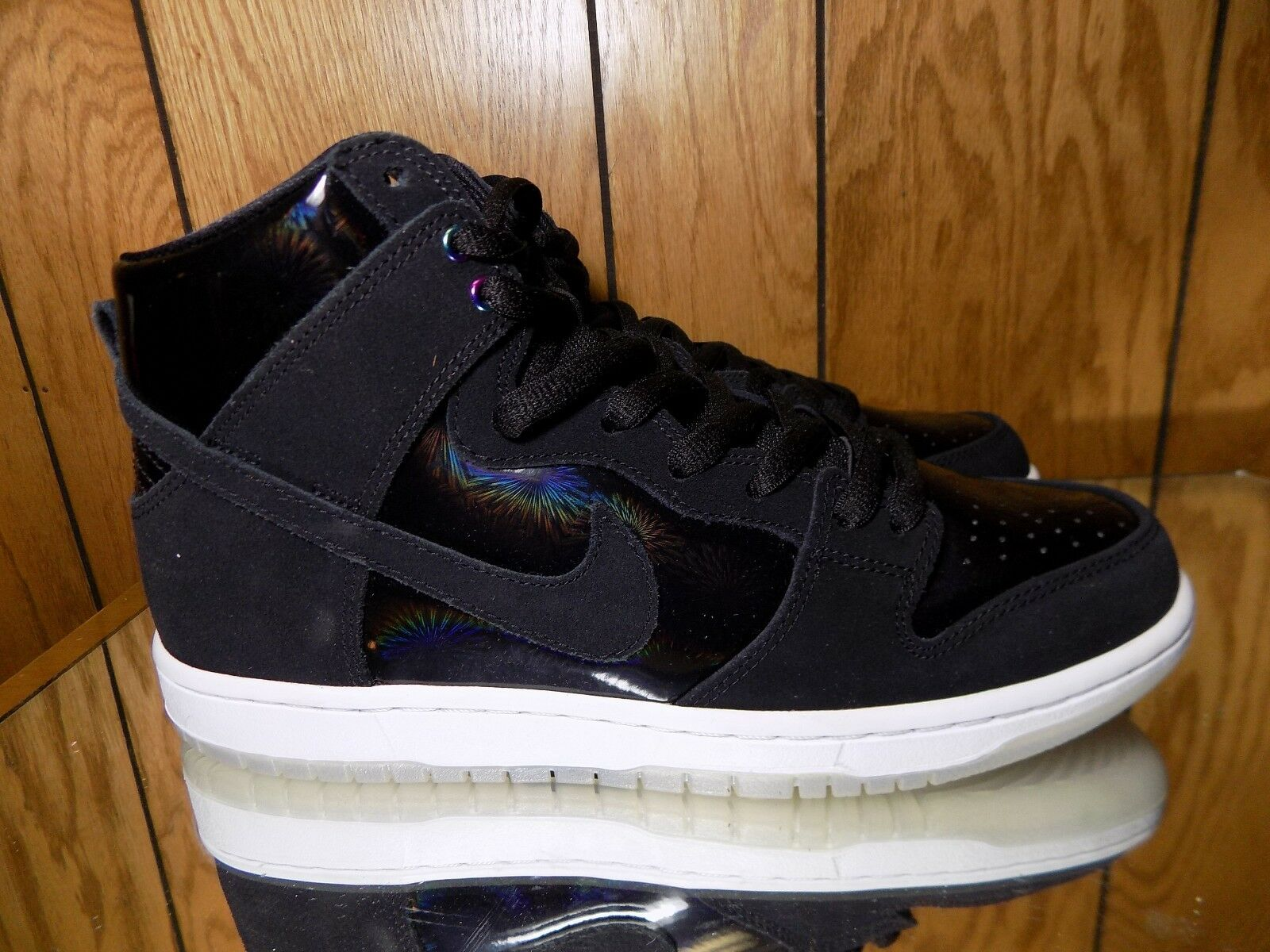 NIKE SB ZOOM DUNK HIGH PRO 854851-001 IRIDESCENT BLACK WHITE CLEAR DS SIZE: 10