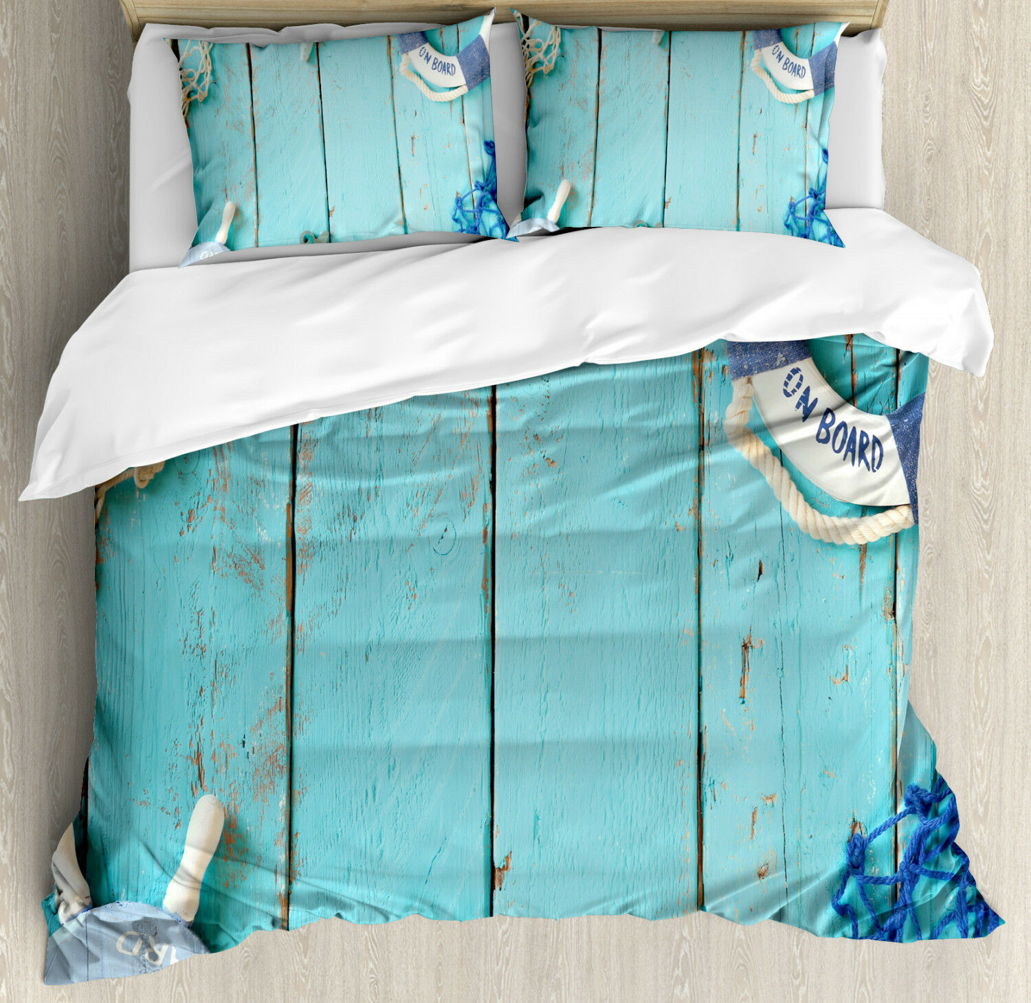 Vintage Duvet Cover Set with Pillow Shams Nautical Ocean Scenery Print