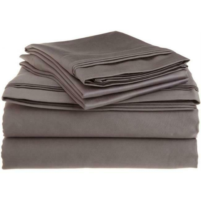 Egyptian Cotton 1500 Thread Count Solid Sheet Set California King-Grey