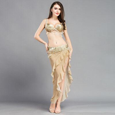 A2002 3 Parte. Professionale Danza Del Ventre Costume Reggiseno E Cintura E Gonna In Oro-