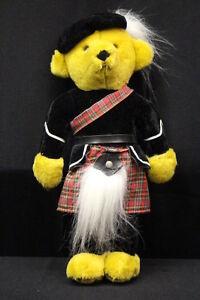 "MERRYTHOUGHT Tan ""Scottish"" Bear W/Red Kilt, 17"" Tall, England"