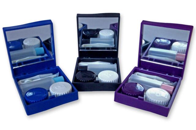 Contact Lens Travel Kit Case ~ Mirror Tweezers & Solution Storage Set for Lenses