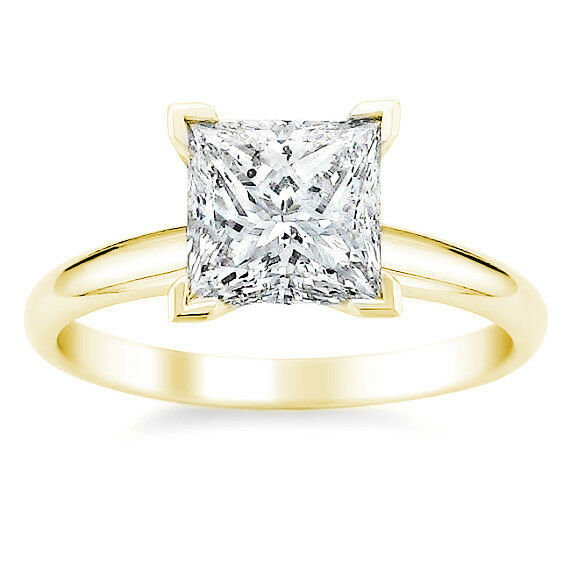 2.16CTW Beautiful Square Brilliant Moissanite 14K YG Solitaire Engagement Ring