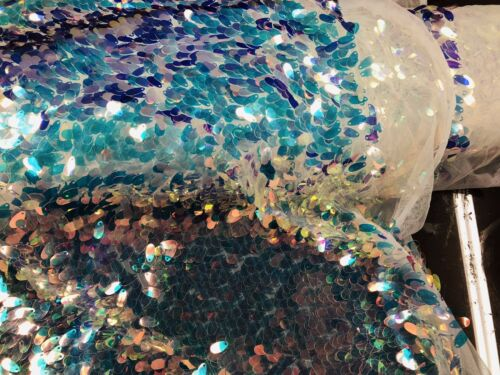 Iridescent Clear Hologram Oval Tear Drop Sequins On A Mesh White Mesh By Yard