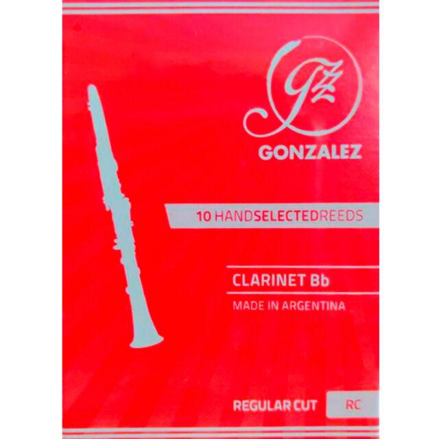 Box of 10 Gonzalez CLARG3 Gonzalez Regular Cut Bb Clarinet Reeds Strength 3
