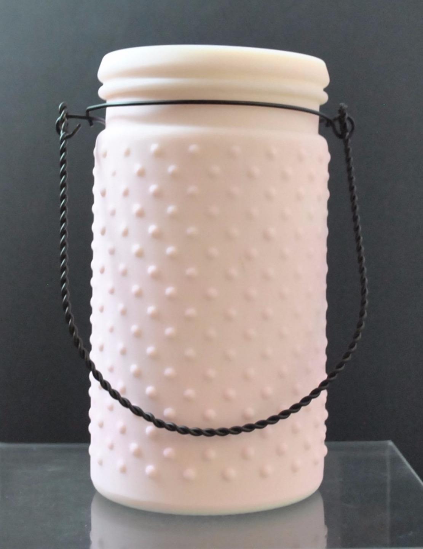 Accent Decor Lilac Hobnail Glass Jar Vase Black Wire Hanger Trim 7 1/8