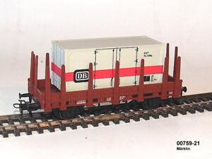 Marklin-00759-21-Vagon-plataforma-con-teleros-contenedor-EL-ALEMAN-tren-NUEVO