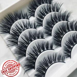 New-5-10Pairs-3D-False-Eyelashes-Wispy-Cross-Long-Soft-Fake-Eye-Lashes-Set-Mink