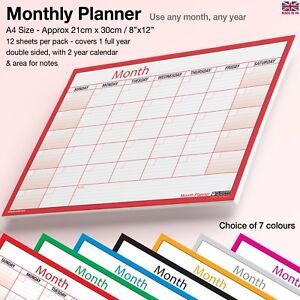 A4 Month Planner Wall Desk Monthly Planner Calendar Double Sided