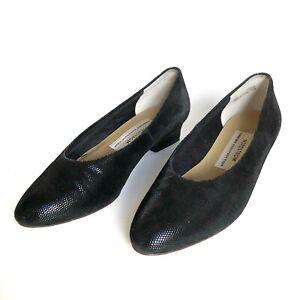 Vintage-Nordstrom-Black-Leather-Slip-On-Womens-Flat-Shoes-Size-7B