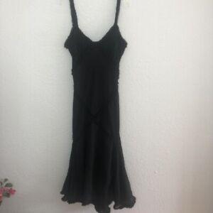 Alfredo-Venini-Black-Beaded-Lined-Black-Flounce-Dress-Size-Medium