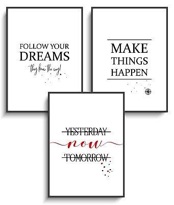 3er Set Motivation Wandbild Bild Poster Kunstdruck A4 Arbeit Work Erfolg Deko