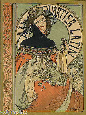 A Quartier Latin 1898 by Alphonse Mucha Giclee Fine Art Print Repro on Canvas