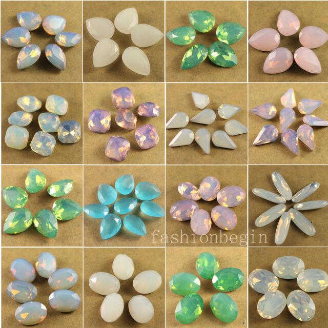12p white/green/pink opal crystal glass Rhinestones stones beads Multi shape