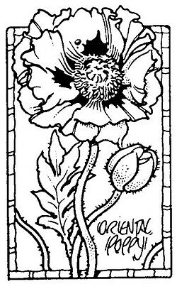 Unmounted Rubber Stamp, Floral Stamps, Oriental Poppies, Flower, Sm. Poppy Frame